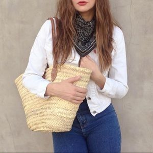 Handbags - Handwoven Leather and Straw Tote